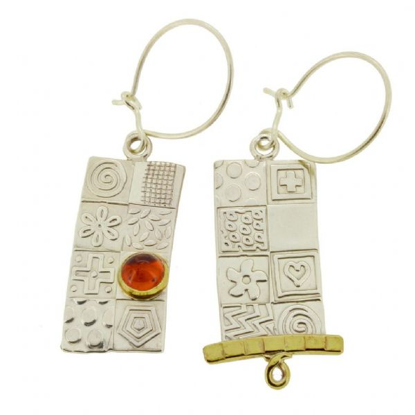 Amber earrings, asymmetrical silver earrings, dangle earrings, contemporary jewellery